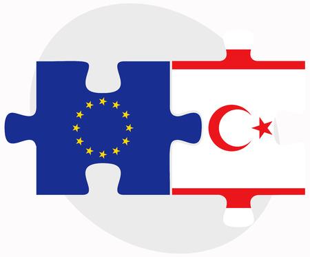 zypresse: Europ�ische Union und t�rkischen Republik von Nord-Zypern Flaggen in Puzzle isoliert auf wei�em Hintergrund Illustration