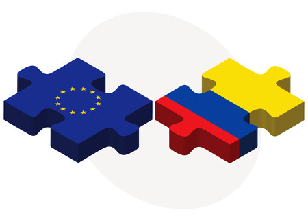 republic of ecuador: Vector Image - European Union and Ecuador Flags in puzzle isolated on white background