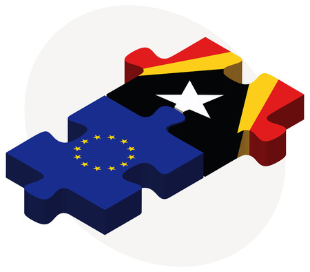 timor: Vector Image - European Union and East Timor Flags in puzzle isolated on white background