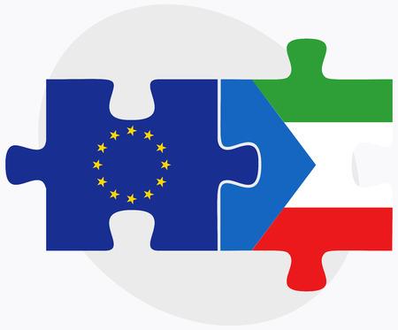 guinea equatoriale: Vettore Immagine - Bandiere dell'Unione europea e Guinea Equatoriale in puzzle isolato su sfondo bianco