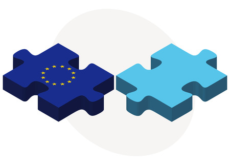 fiji: Vector Image - European Union and Fiji Flags in puzzle isolated on white background