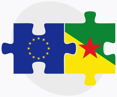 french guiana: Vector Image - European Union and French Guiana Flags in puzzle isolated on white background Illustration