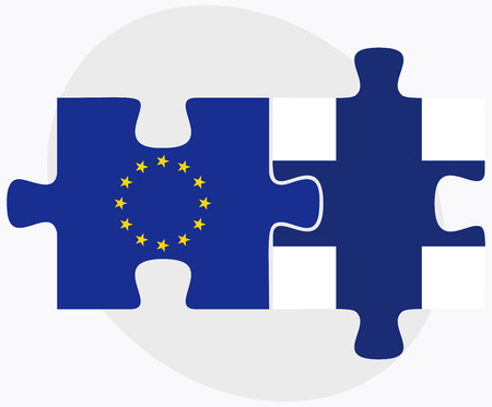 Vector Image - European Union and Finland Flags in puzzle isolated on white background
