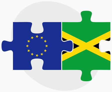 kingston: Vector Image - European Union and Jamaica Flags in puzzle isolated on white background