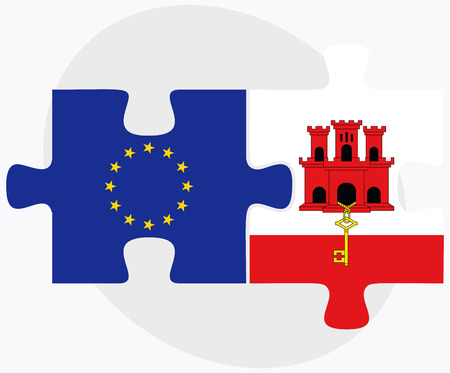 gibraltar: Vector Image - European Union and Gibraltar Flags in puzzle isolated on white background