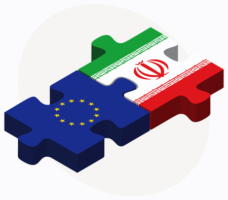 Vector Image - European Union and Iran Flags in puzzle isolated on white background
