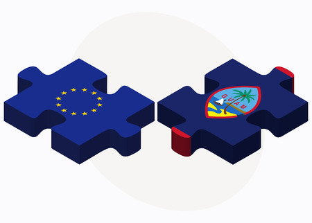 filipino: Vector Image - European Union and Guam Flags in puzzle isolated on white background Illustration