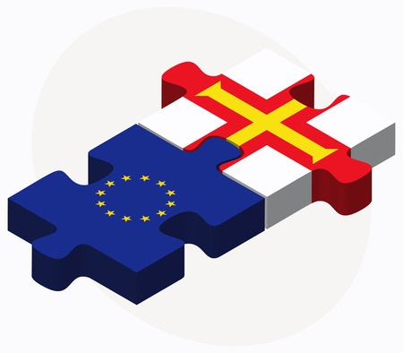 bailiwick: Vector Image - European Union and Guernsey Flags in puzzle isolated on white background