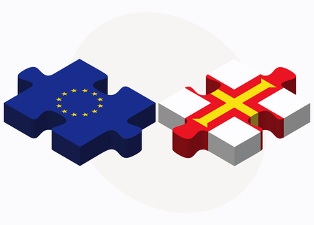 guernsey: Vector Image - European Union and Guernsey Flags in puzzle isolated on white background
