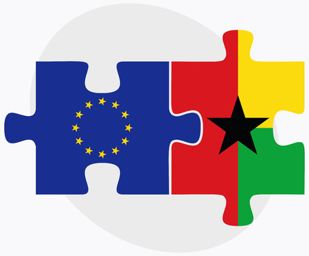 georgetown: Vector Image - European Union and Guyana Flags in puzzle isolated on white background
