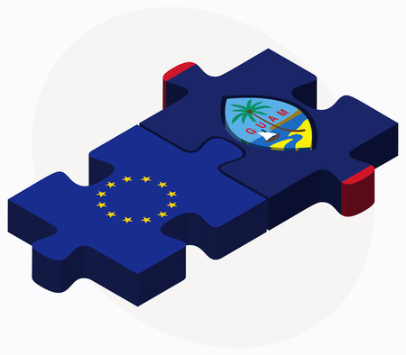guam: Vector Image - European Union and Guam Flags in puzzle isolated on white background Illustration