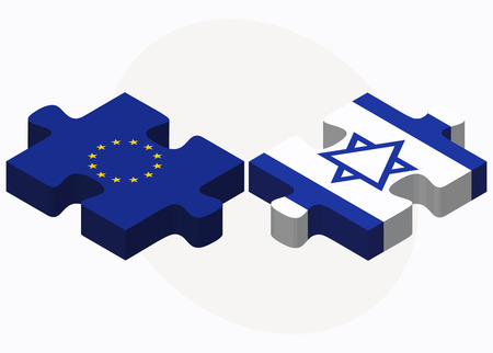 european flags: Vector Image - European Union and Israel Flags in puzzle isolated on white background Illustration