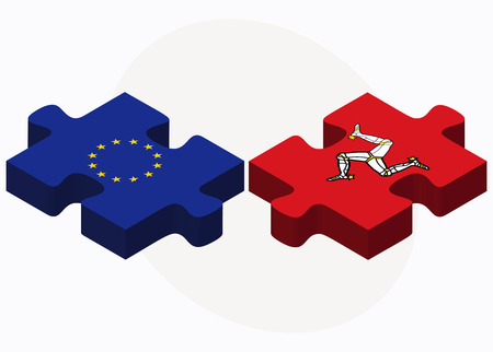 dependency: Vector Image - European Union and Isle of Man Flags in puzzle isolated on white background