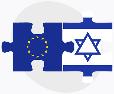 israel people: Vector Image - European Union and Israel Flags in puzzle isolated on white background Illustration