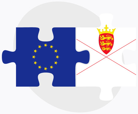 bailiwick: Vector Image - European Union and Jersey Flags in puzzle isolated on white background