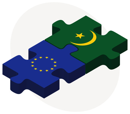 mauritania: European Union and Mauritania Flags in puzzle isolated on white background