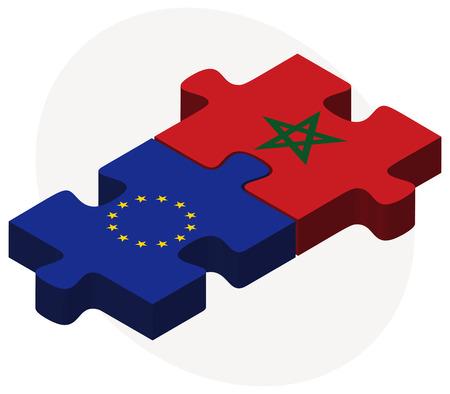 Banderas de la Unión Europea y Marruecos en rompecabezas aislados sobre fondo blanco