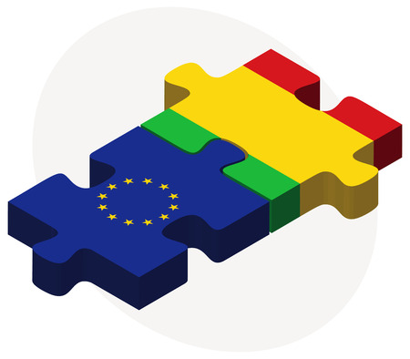 malibu: Vector Image -  European Union and Mali Flags in puzzle isolated on white background Illustration