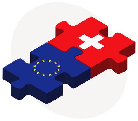 欧州連合とスイス連邦共和国のフラグのパズルに孤立した白い背景