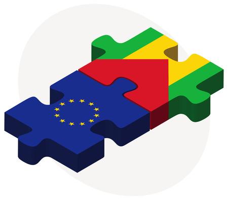 principe: Banderas de la Unión Europea y Santo Tomé y Príncipe en rompecabezas aislados sobre fondo blanco Vectores