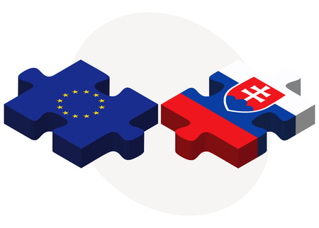 slovakian: European Union and Slovakia Flags in puzzle isolated on white background