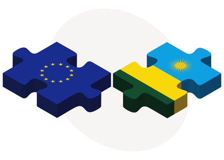 kigali: European Union and Rwanda Flags in puzzle isolated on white background