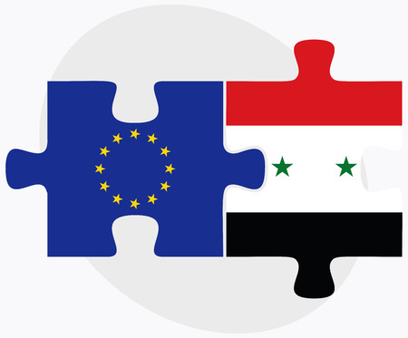 European Union and Syria Flags in puzzle isolated on white background Vector