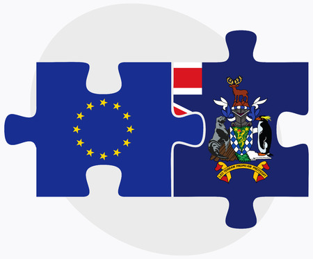 sandwich white background: European Union and South Georgia and the South Sandwich Islands Flags in puzzle isolated on white background