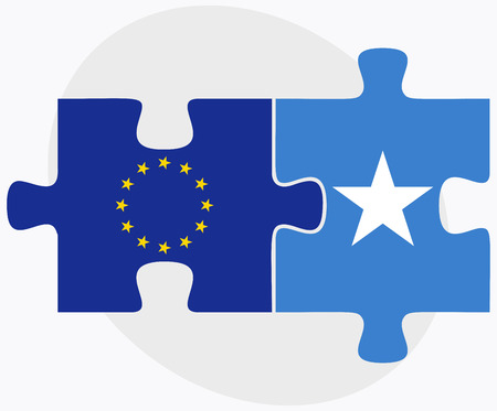 somalis: European Union and Somalia Flags in puzzle isolated on white background