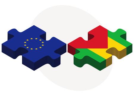 principe: Banderas de la Uni�n Europea y Santo Tom� y Pr�ncipe en rompecabezas aislados sobre fondo blanco Vectores