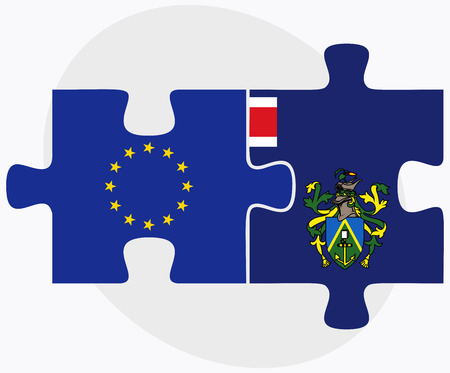 pitcairn: European Union and Pitcairn Islands Flags in puzzle isolated on white background