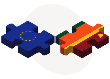 colombo: European Union and Sri Lanka Flags in puzzle isolated on white background