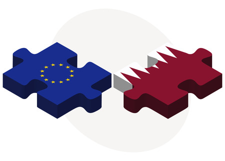 doha: European Union and Qatar Flags in puzzle isolated on white background Illustration