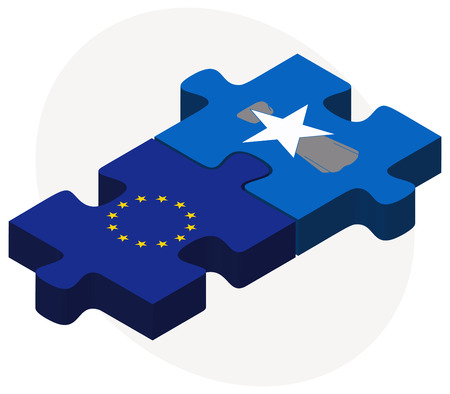 northern european: European Union and Northern Mariana Islands Flags in puzzle isolated on white background
