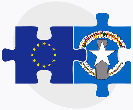 mariana: European Union and Northern Mariana Islands Flags in puzzle isolated on white background