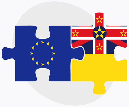 niue: European Union and Niue Flags in puzzle isolated on white background