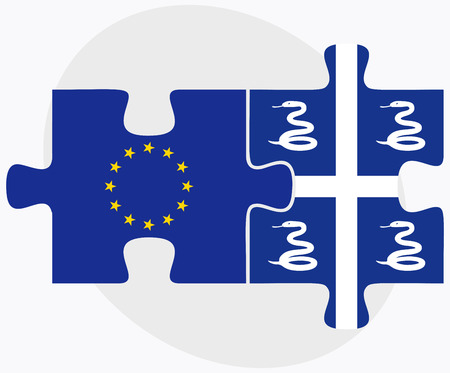 martinique: European Union and Martinique Flags in puzzle isolated on white background Illustration