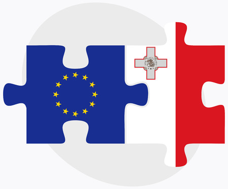 valletta: Vector Image - European Union and Malta Flags in puzzle isolated on white background Illustration