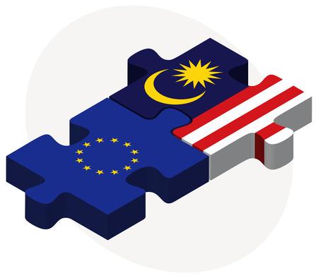 ベクトル画像 - 欧州連合とマレーシアのフラグのパズルに孤立した白い背景