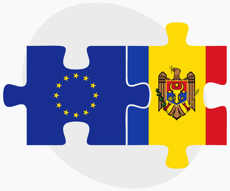 moldovan: European Union and Moldova Flags in puzzle isolated on white background Illustration