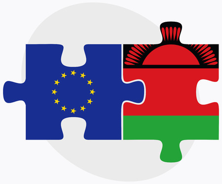 malawian: Vector Image -  European Union and Malawi Flags in puzzle isolated on white background Illustration