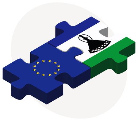 lesotho: European Union and Lesotho Flags in puzzle isolated on white background Illustration