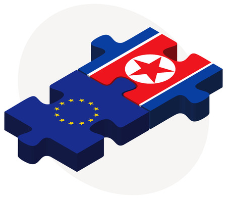 pyongyang: Vector Image -  European Union and Korea-North Flags in puzzle isolated on white background