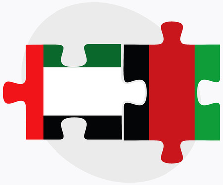afghan: United Arab Emirates and Afghanistan Flags in puzzle  isolated on white background