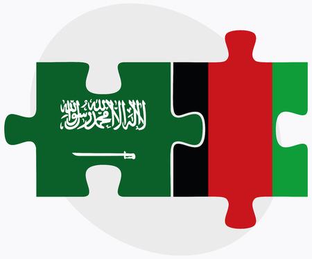 afghane: Saudi-Arabien und Afghanistan Flaggen in Puzzle isoliert auf wei�em Hintergrund
