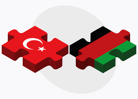 afghan: Turkey and Afghanistan Flags in puzzle  isolated on white background