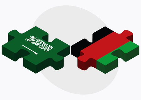 afghan: Saudi Arabia and Afghanistan Flags in puzzle  isolated on white background