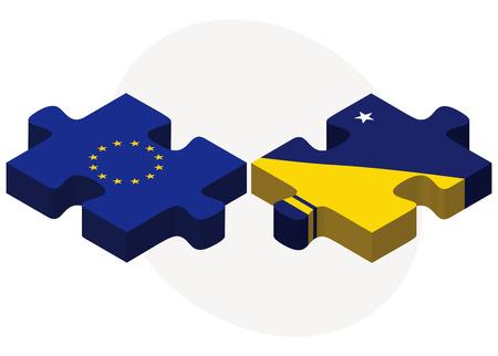 tokelau: European Union and Tokelau Flags in puzzle isolated on white background Illustration