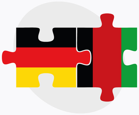 afghan: Germany and Afghanistan Flags in puzzle  isolated on white background