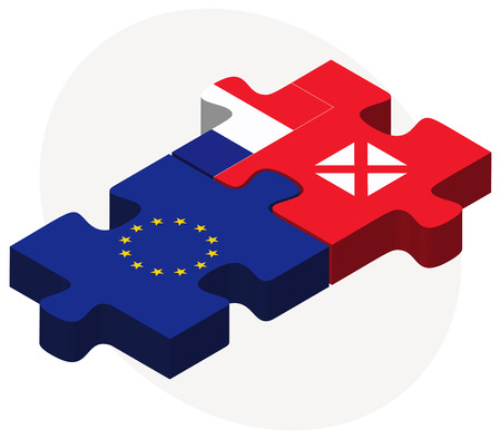 wallis: European Union and Wallis and Futuna Flags in puzzle isolated on white background